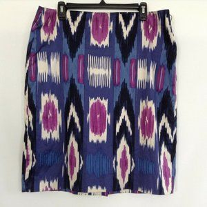 Talbots Womens Blue Abstract Pencil Skirt Size 14